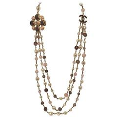 Chanel Three Strand Pearl, Rose Quartz and Agate Bead Necklace