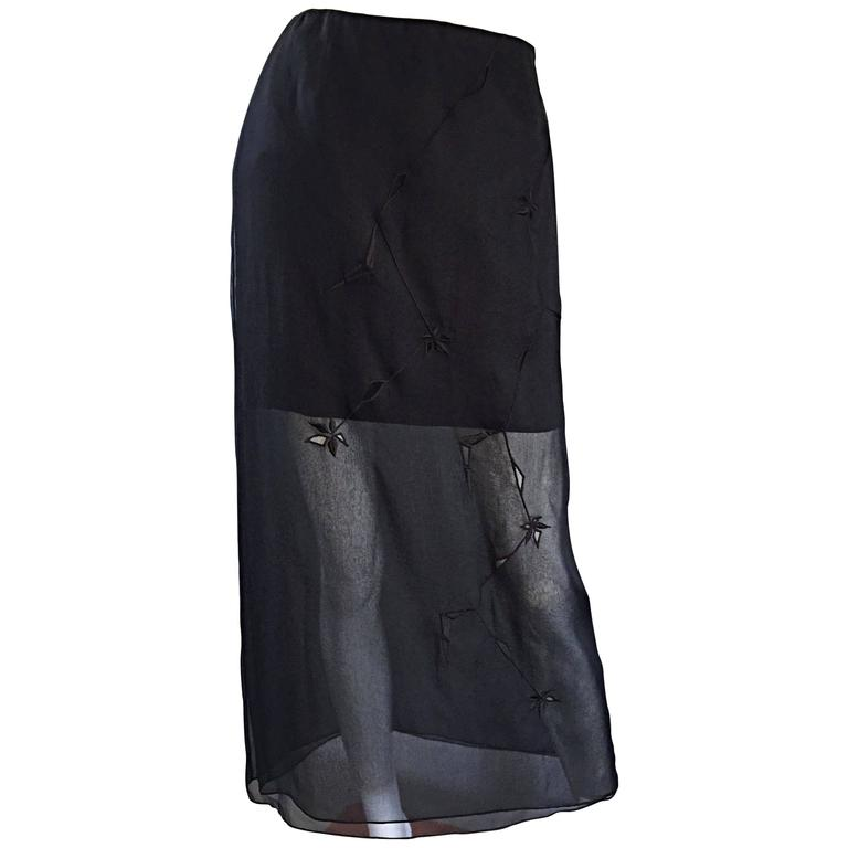 NWT 1990s Alberta Ferretti Saks 5th Ave Black Silk Mini Skirt w/ Chiffon Overlay For Sale