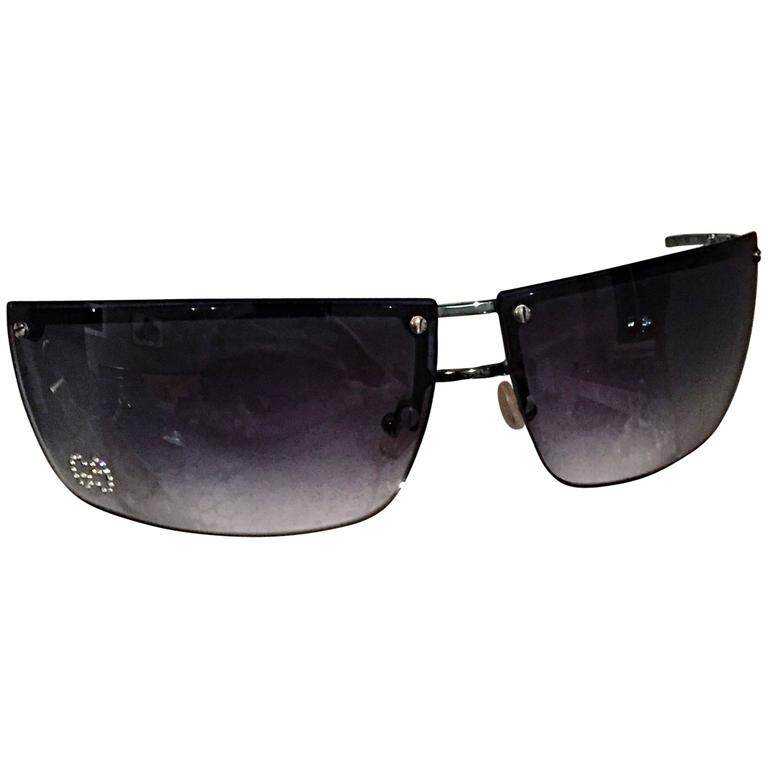 79b9577a19702 Rare Tom Ford For Gucci Blue Gray Rimless Rhinestone Sunglasses GG 2653  Strass For Sale