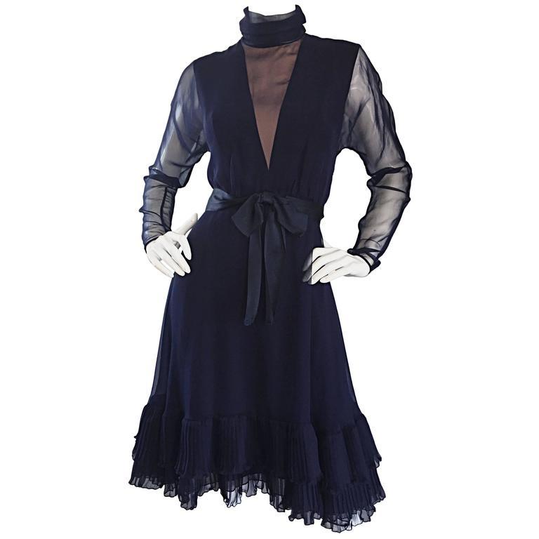 1960s Kiki Hart Navy Blue Silk Chiffon Nude Illusion Belted Bow Ruffle Dress