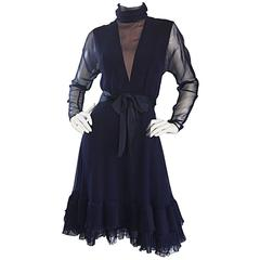 1960s Kiki Hart Navy Blue Silk Chiffon Nude Illusion Belted Bow Ruffle Dress