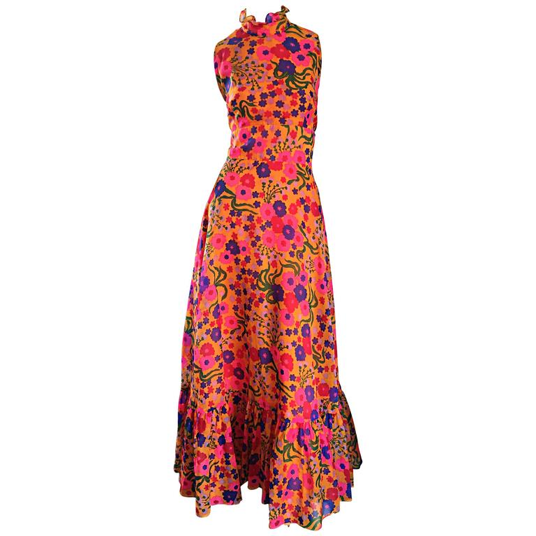 Amazing 1970s 70s Colorful Psychedelic Chiffon Floral Ruffle Vintage Maxi Dress For Sale