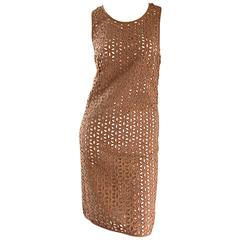 Derek Lam Chic Taupe Light Brown Crochet Cut - Out Dress & Slip