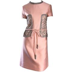 1960s Pat Sandler Light Pink Silk + Rhinestones + Crystals Belted A - Line Dress