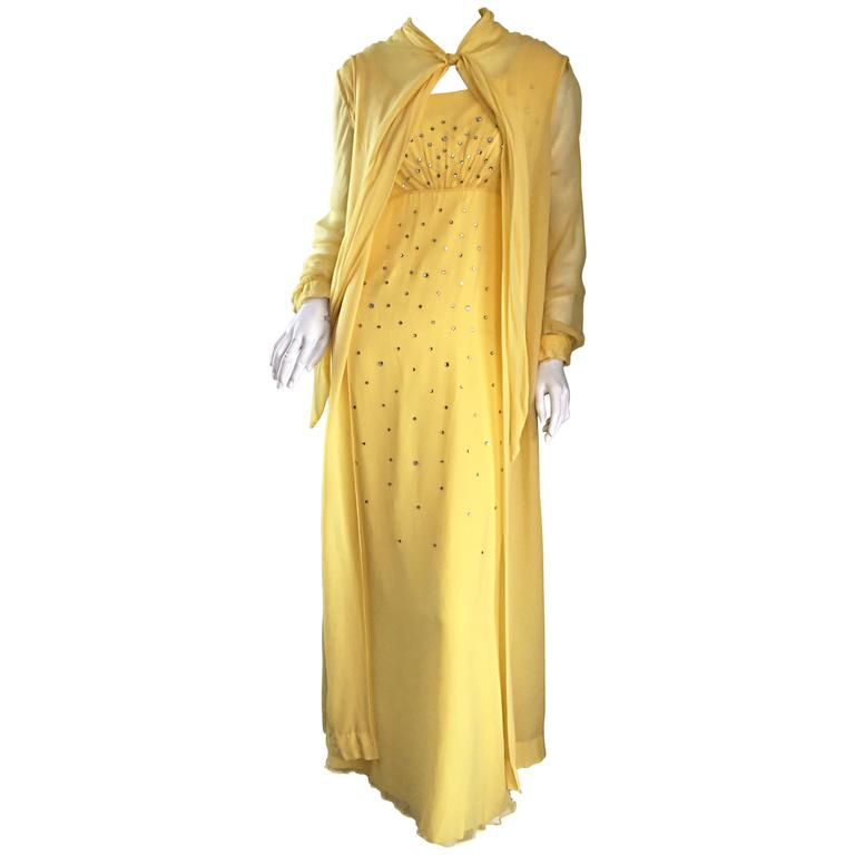 Incredible Loris Azzaro 70s Vintage Gown & Cape Yellow Silk Chiffon Rhinestones