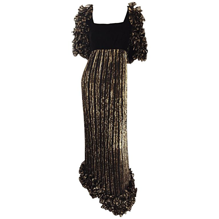 ffd56c9495 Alfred Bosand Vintage Black   Gold Plisse Pleated Ruffle Sleeve Silk Gown  For Sale
