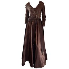 Gorgeous Vintage Pamela Dennis Couture Chocolate Brown Sequin Taffeta Gown Sz 8