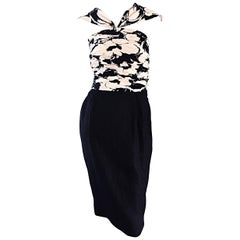 Valentino Vintage 1990s Black and White Silk Ruched Op - Art Floral Halter Dress