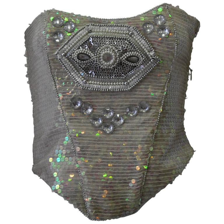 Ella Singh Intricate Bead Embroidered Iridescent Sequin Bustier 1