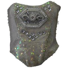 Ella Singh Intricate Bead Embroidered Iridescent Sequin Bustier