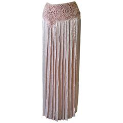"Rare Gianni Versace Couture Punk Silk ""Wrinkle Chic"" Maxi Skirt"