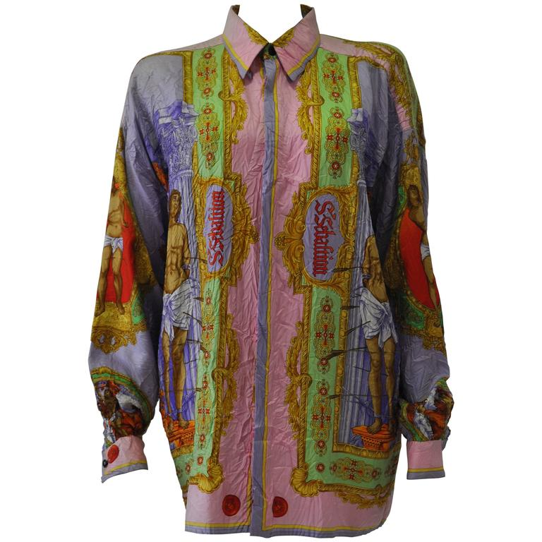 "Sought After Gianni Versace ""Saint Sebastian"" Punk Wrinkled Silk Shirt For Sale"