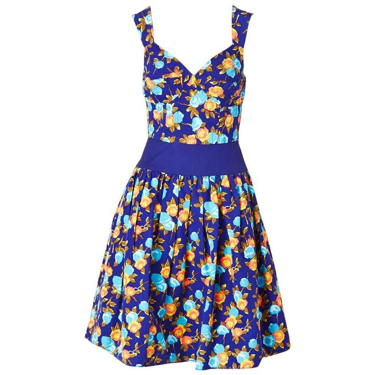 Yves Saint Laurent Floral Print Dress With Sweetheart Neckline For Sale