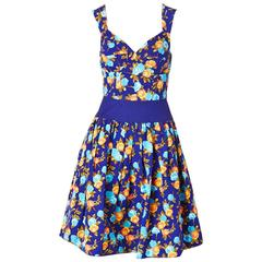 Yves Saint Laurent Floral Print Dress With Sweetheart Neckline