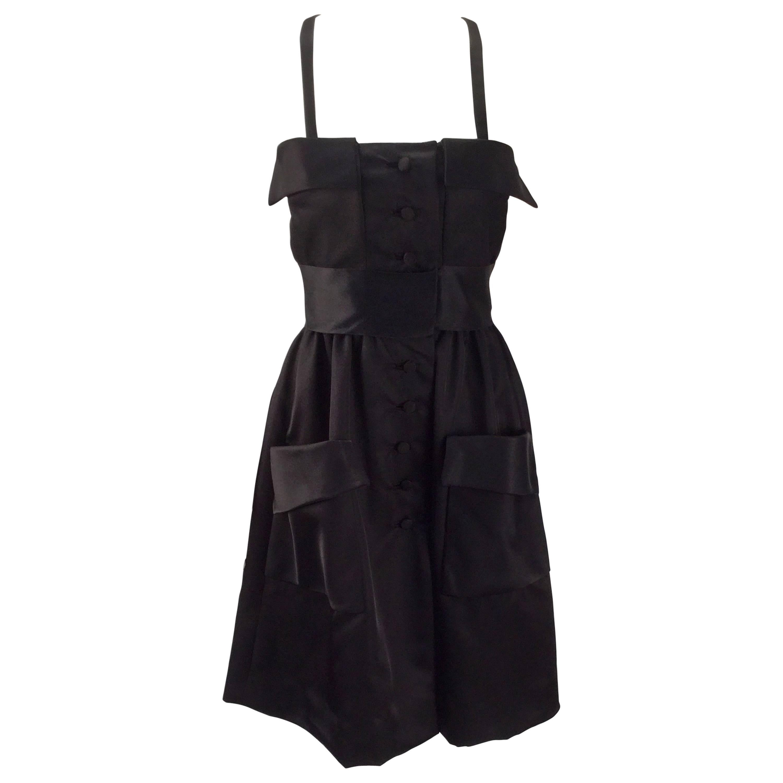 Geoffrey Beene Black Satin Dress with Pockets, 1970s
