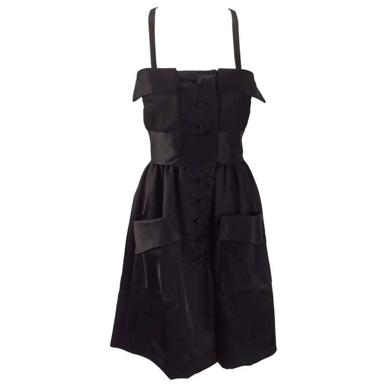 Geoffrey Beene Black Satin Dress with Pockets, 1970s  For Sale