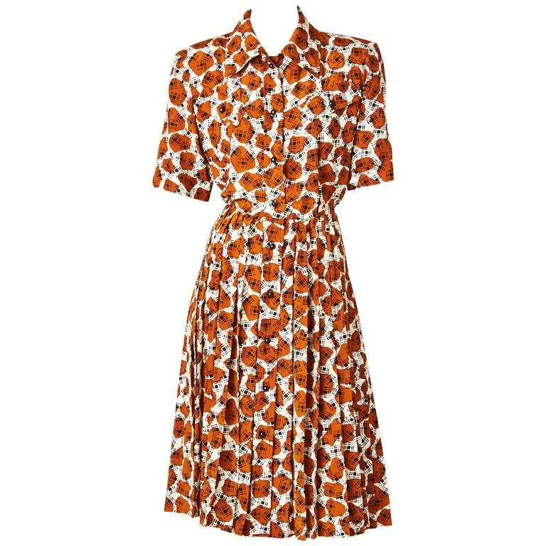 Yves Saint Laurent Printed Day Dress For Sale