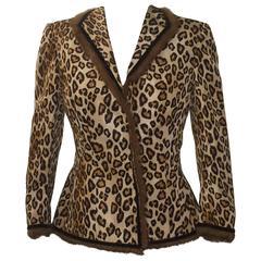 Alexander McQueen 2005 Leopard Print Silk Jacket with Fur Trim