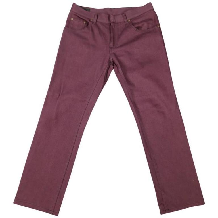 ALEXANDER MCQUEEN Size 32 Burgundy Straight Fit Denim Jeans