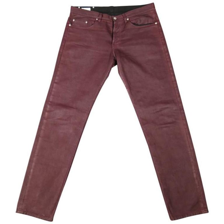 Dries Van Noten Men S Burgundy Coated Skinny Jeans Size