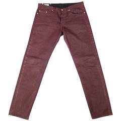 Dries van Noten Men's Burgundy Coated Skinny Jeans, Size 32