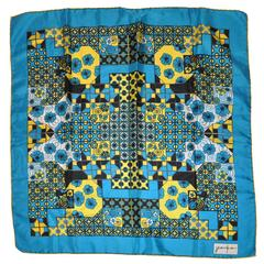 Jerome (Paris) Bold Abstract with Floral Silk Scarf