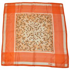 Paoli Bold Tangerine & Cream Floral Scarf
