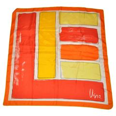 Vera Yellow & Orange Color Block Silk Scarf