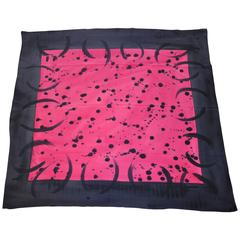 Lisa L. Huge Bold Fuchsia & Steel Abstract Silk Crepe de Chine Scarf