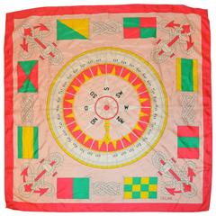 "Celine Multi-Color ""Compass"" Silk Scarf"