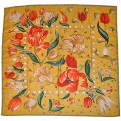 """Longchamp Multi-Color """"Tulips"""" Silk Scarf"""