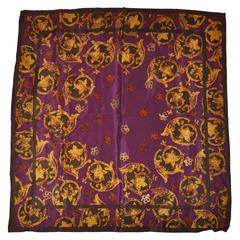 "Vera ""Shades of Plum & Browns"" Palsey Silk Scarf"