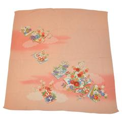 "Japanese ""Shades of Coral"" Floral Silk Scarf"