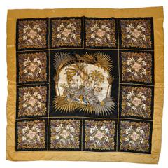 "Huge Silk Crepe de Chine ""Multi-Birds & Leopard"" Hand-Rolled Scarf"