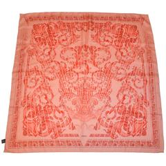 "Gianni Versace ""Shades of Coral"" Signature Silk Scarf"