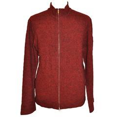 Yohji Yamamoto Men's Black & Red Wool Zipper Front Jacket with Pockets