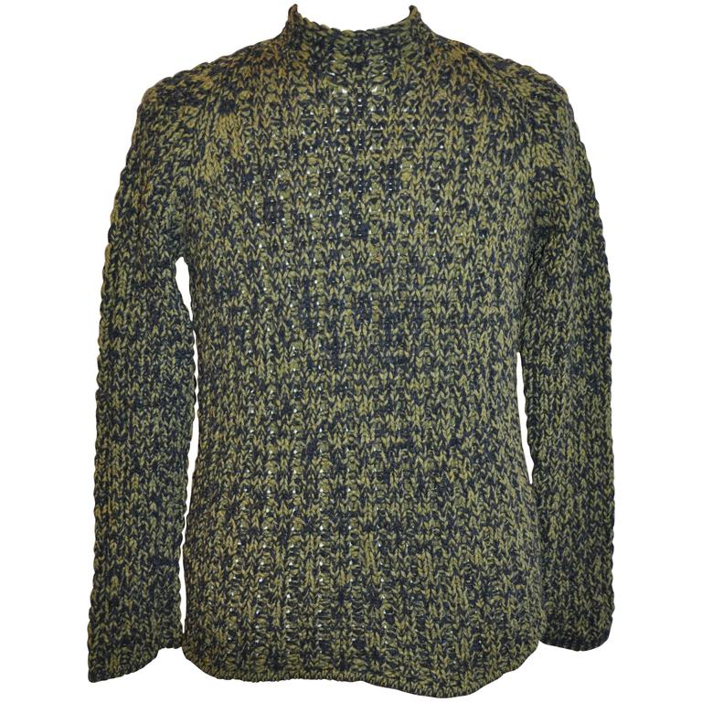 Hermes Green & Black High-Neck Wool-Blend Pullover