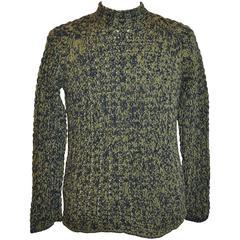 Hermes Green & Black High-Neck Wool-Blend Pullover