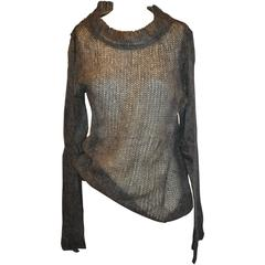 Ann Demeulemeester Charcoal Gray Loose-Knit Pullover