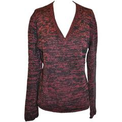 Prada Cashmere Coral & Navy V-Neck Front Pullover