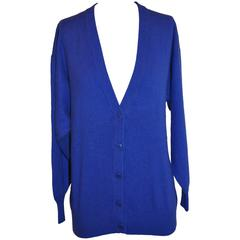 Charles Jourdan French Navy Button V-Neck Front Cardigan