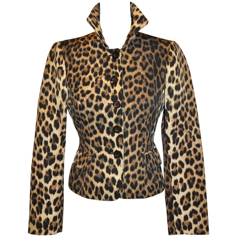 Moschino Leopard Print Fully Lined Jacket For Sale