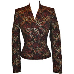 Kenzo Multi-Color Accented with Metallic Gold Evening Jacket