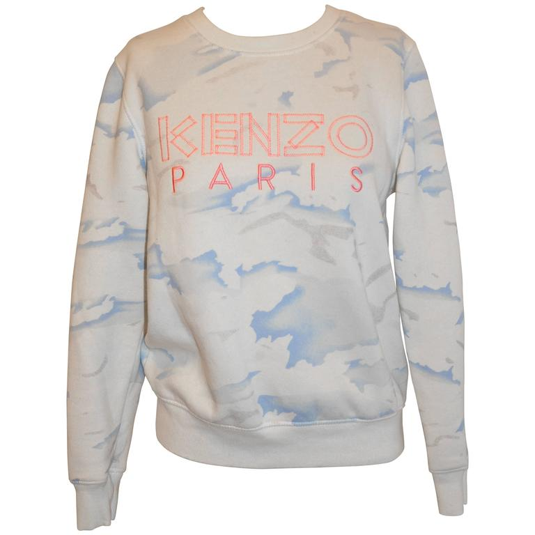 "Kenzo Crew-Neck Cotton-Blend ""Clouds"" Sweat Pullover"