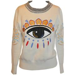 "Kenzo Detailed Whimisical Embroidered ""Eye"" Crew Neck Pullover"