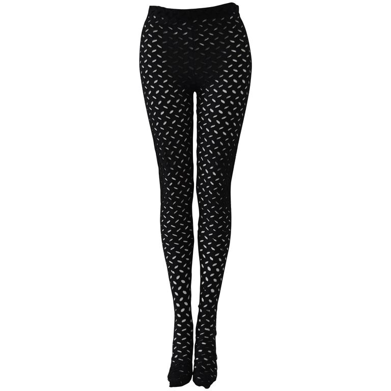 Iconic Gianni Versace Couture Punk Cut-Out Leggings For Sale