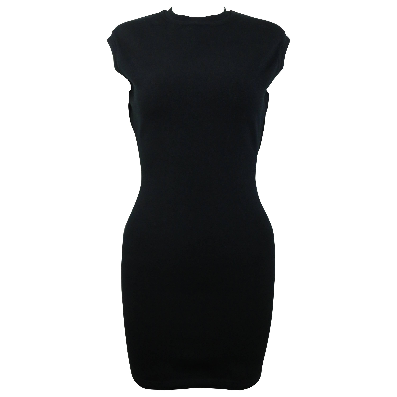 Azzedine Alaia Black Jersey Body Conscious Sleeveless Mini Dress