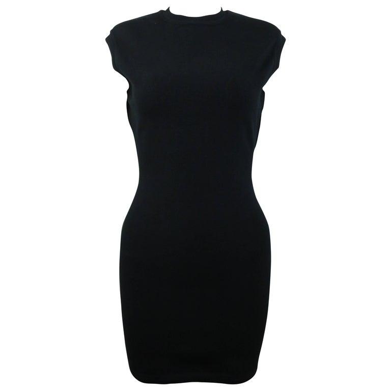 Azzedine Alaia Black Jersey Body Conscious Sleeveless Mini Dress  For Sale