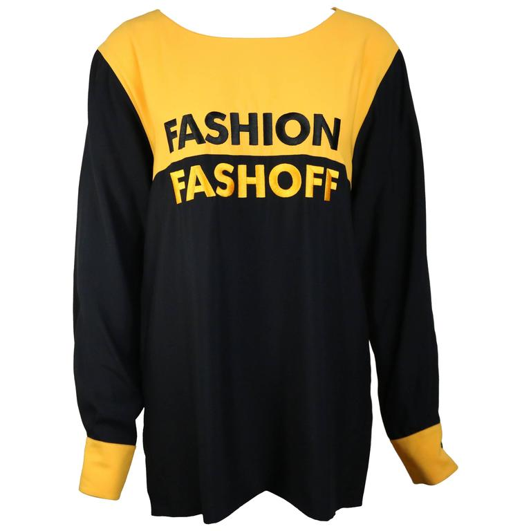 """Moschino Couture Colour Block Slogan """"Fashion and Fashoff"""" Long Sleeves Blouses"""