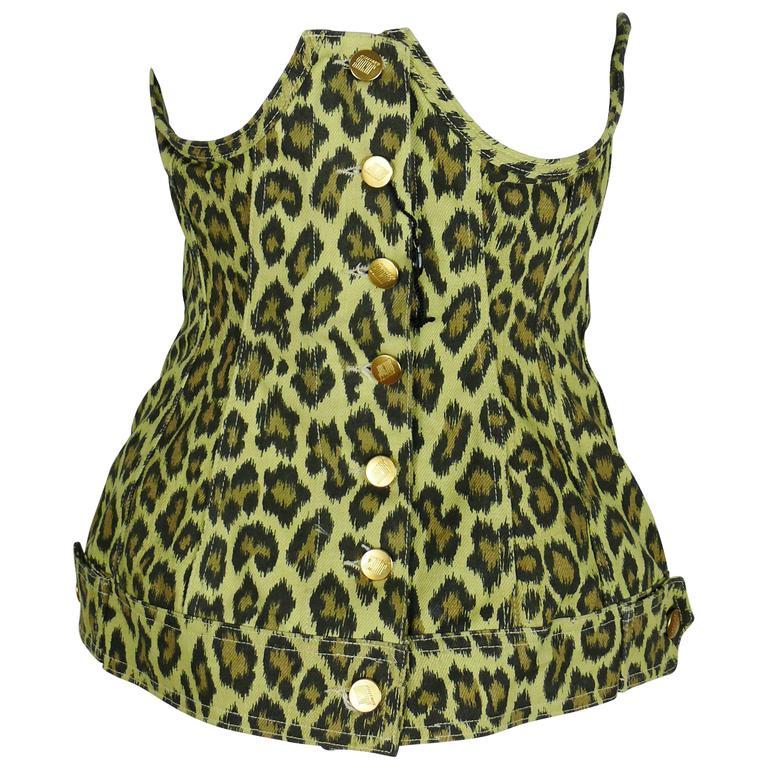 Jean Paul Gaultier Vintage Cheetah Print Corset Top Unworn Condition